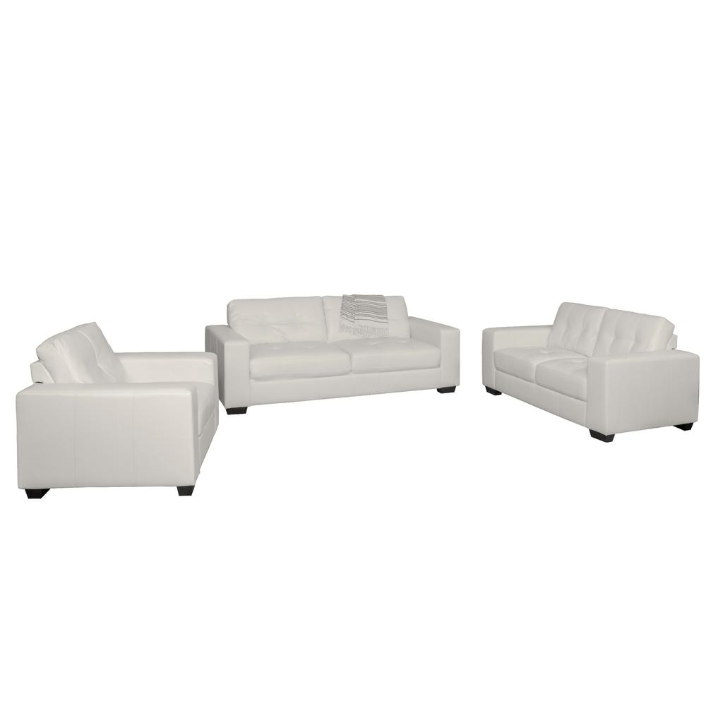 Merveilleux CorLiving Club 3 Piece Tufted White Bonded Leather Sofa Set