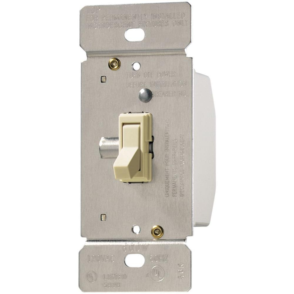Eaton Trace 600 Watt 125 Volt Single Pole 3 Way Toggle Dimmer For Light Switch Plate