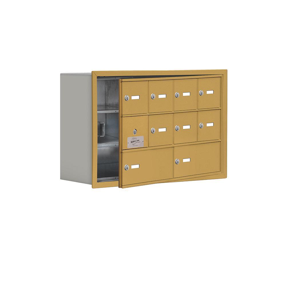 19100 Series 29.25 in. W x 18.75 in. H x 8.75 in. D 9 Doors Cell Phone Locker Recess Mount Keyed Lock in Gold
