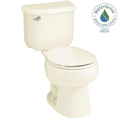 Windham 14 in. Rough-In 2-piece 1.28 GPF Single Flush Round Toilet in Biscuit