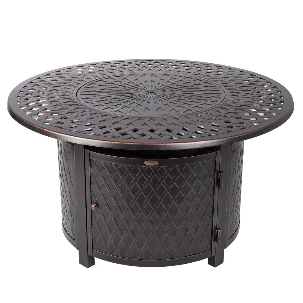 Fire Sense Verona 42 in. x 24 in. Round Aluminum LPG Fire Pit Table in Antique Bronze with Vinyl Cover