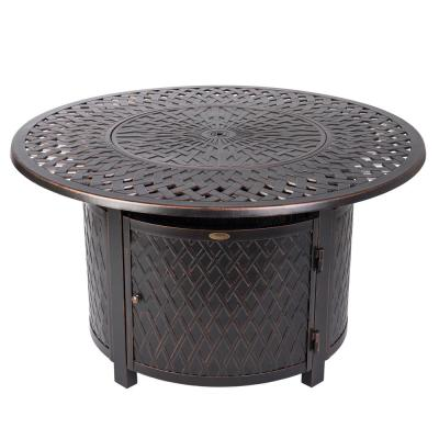 Verona 42 in. x 24 in. Round Aluminum LPG Fire Pit Table in Antique Bronze with Vinyl Cover