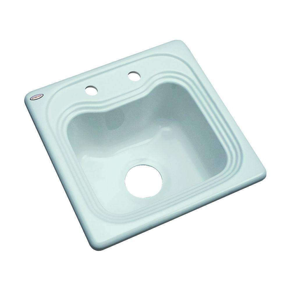 Thermocast Oxford Drop-In Acrylic 16 in. 2-Hole Single Basin Bar Sink in Seafoam Green