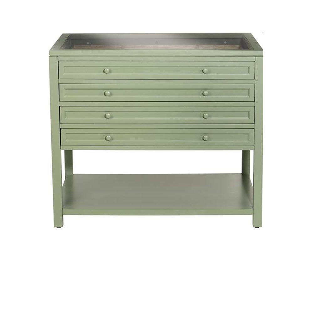Home Decorators Collection Craft Space 4-Shallow Drawers with Dividers Collector's Base in Rhododendron Leaf