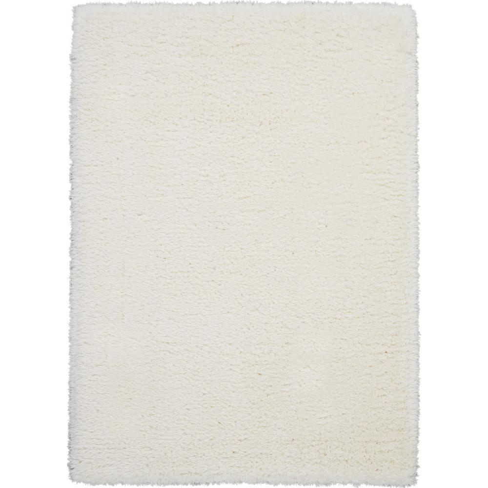 Nourison Ultra Plush Shag 5' X 7' White Plush Area Rug