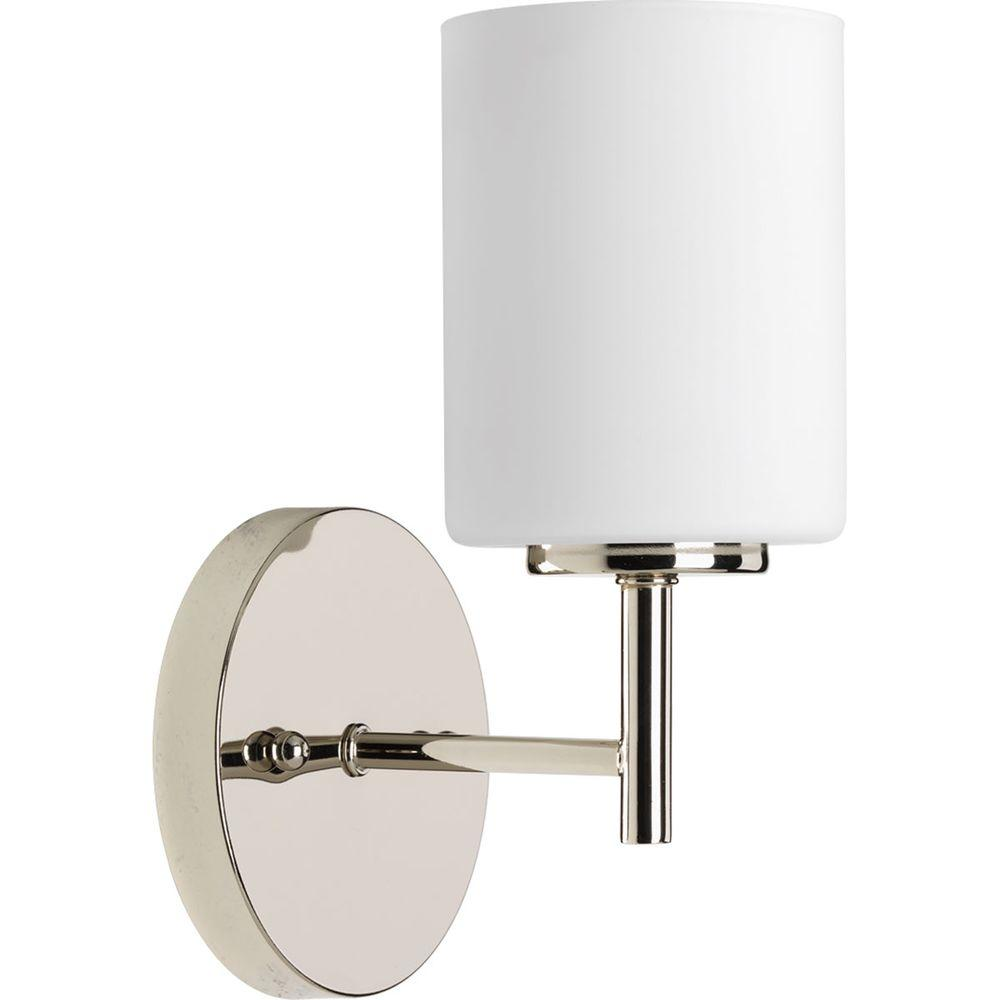 Progress Lighting Replay 1 Light Polished Nickel Bath Sconce With Frosted Gl Shade