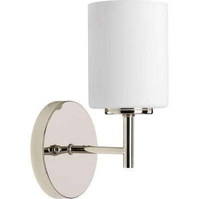Replay 1-Light Polished Nickel Bath Sconce with Frosted Glass Shade