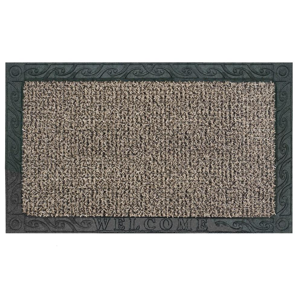 Clean Machine Filigree Welcome Earth Taupe 18 in. x 30 in. Door Mat ...