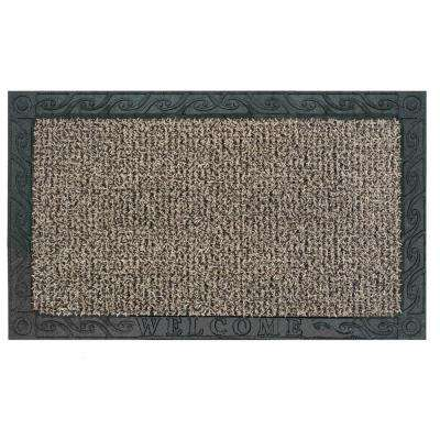 Filigree Welcome Earth Taupe 18 in. x 30 in. Door Mat