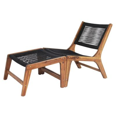 Camona Armless Wood Outdoor Lounge Chair in Black