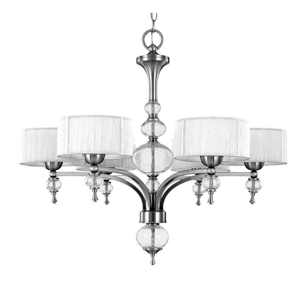 World Imports Bayonne Collection 6-Light Brushed Nickel Chandelier