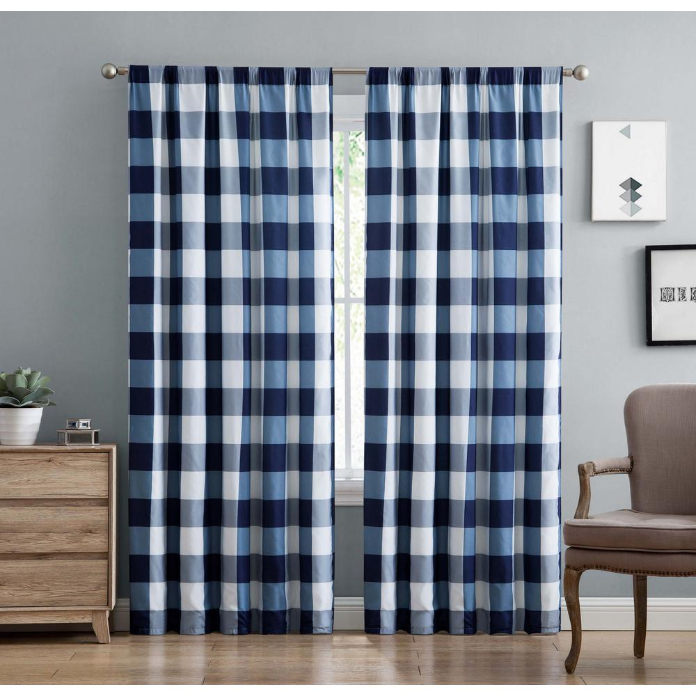 Buffalo Plaid Navy Blue Drape