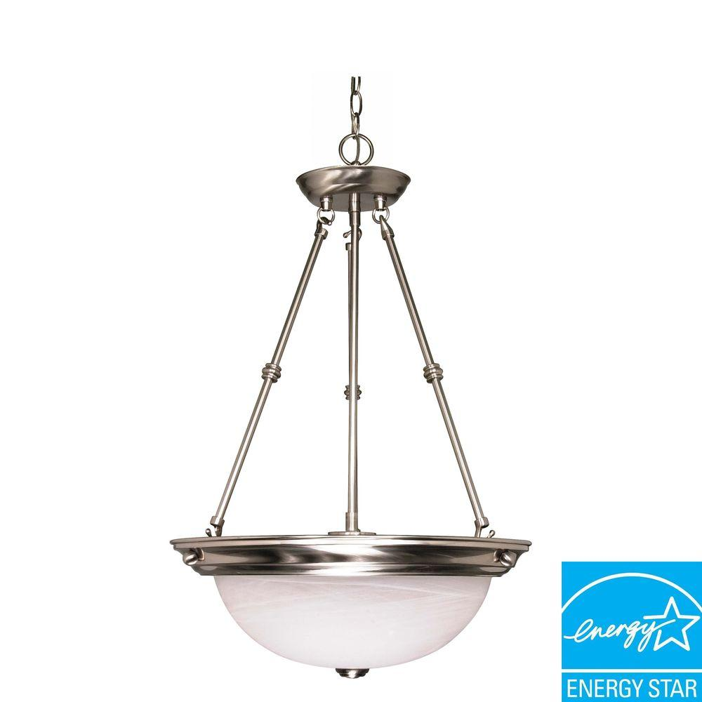 Volume Lighting 3 Light Brushed Nickel Pot Rack Pendant