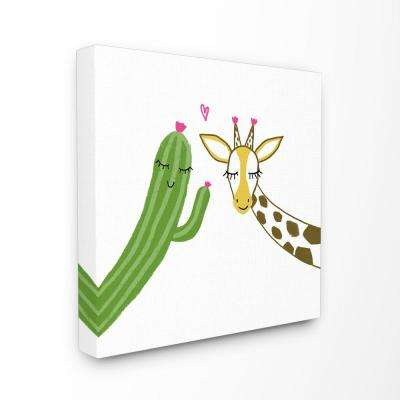 "30 in. x 30 in. ""Cactus And Giraffe Love with Hearts and Eyelashes"" by Girl Gang Canvas Wall Art"