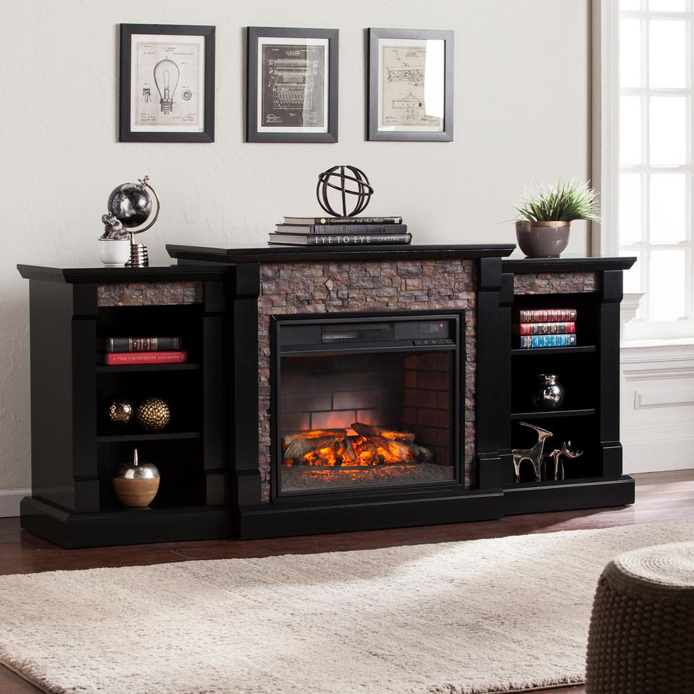 Add charm to any room in your home by choosing this Southern Enterprises Nassau Infrared FauStone Electric Fireplace with Bookcases in Satin Black.