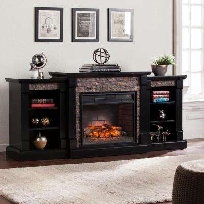 Nassau 71.75 in. W Infrared Faux Stone Electric Fireplace with Bookcases in Satin Black