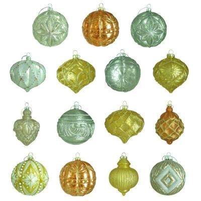 100 mm Holiday Shimmer Ornament Assortment (15-Count)