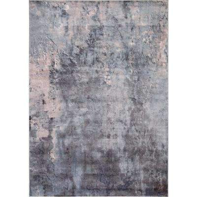 Olympus Abstract Blue Rectangle Indoor 9 ft. x 12 ft. Area Rug