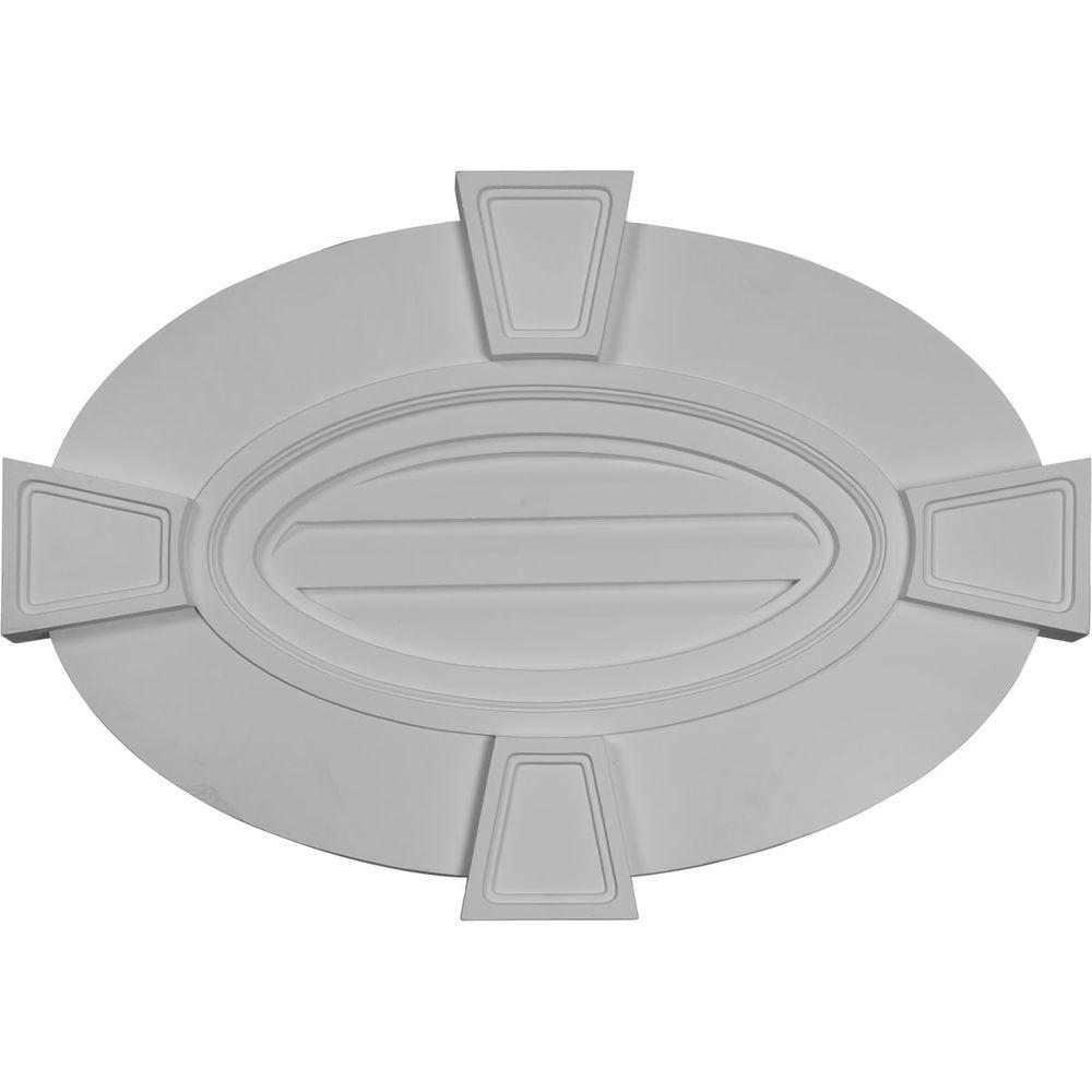 Ekena Millwork 2 in. x 29 in. x 20 in. Decorative Horizontal Oval Gable Louver Vent with Flat Trim and Keystones