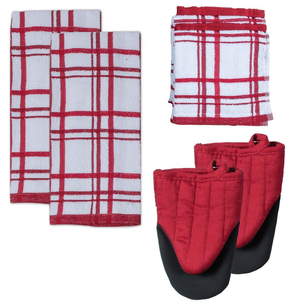 Kitchen Basics Cotton Cinnabar Kitchen Textiles (Set of 8)