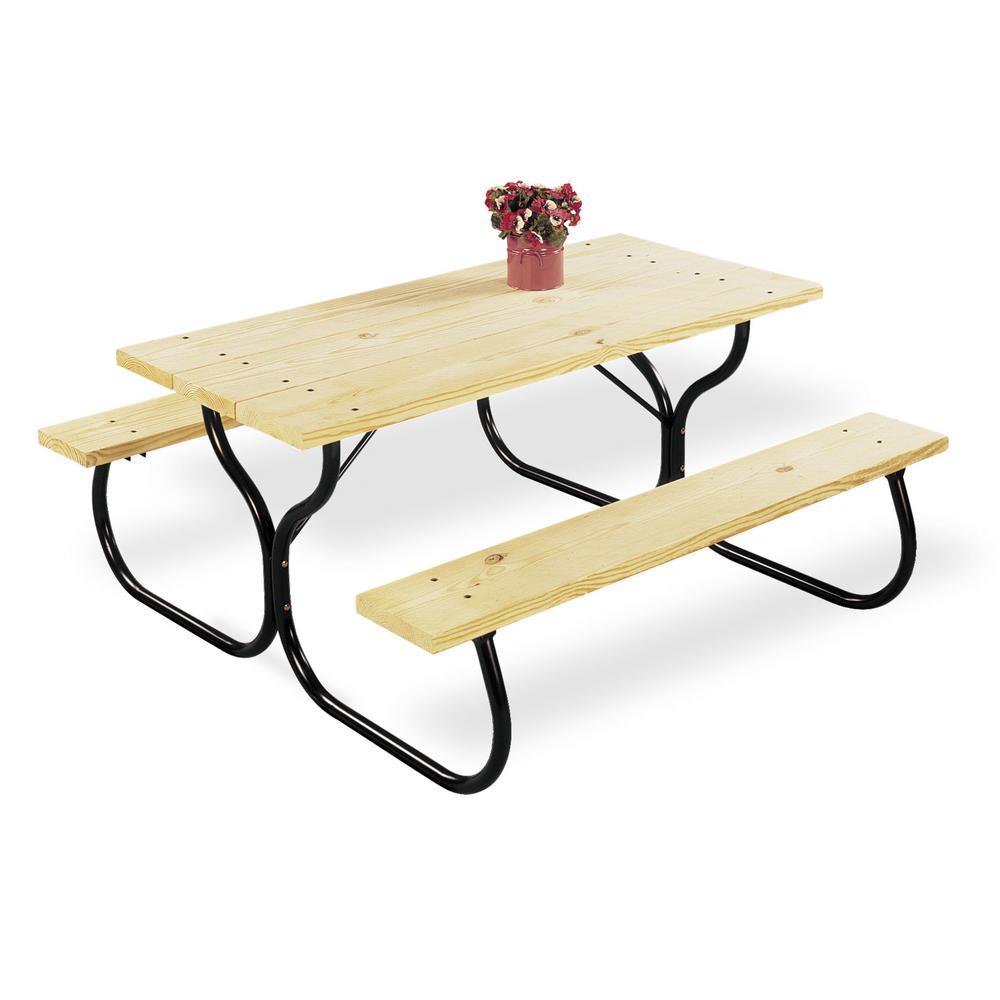 Black Rectangular Metal Outdoor Picnic Table Frame
