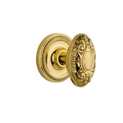 Rope Rosette Interior Mortise Victorian Door Knob in Unlacquered Brass
