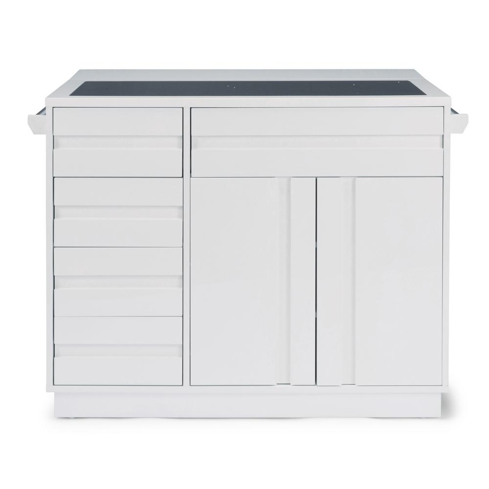 Home Styles Linear White Kitchen Island And 2 Bar Stools 8000 948