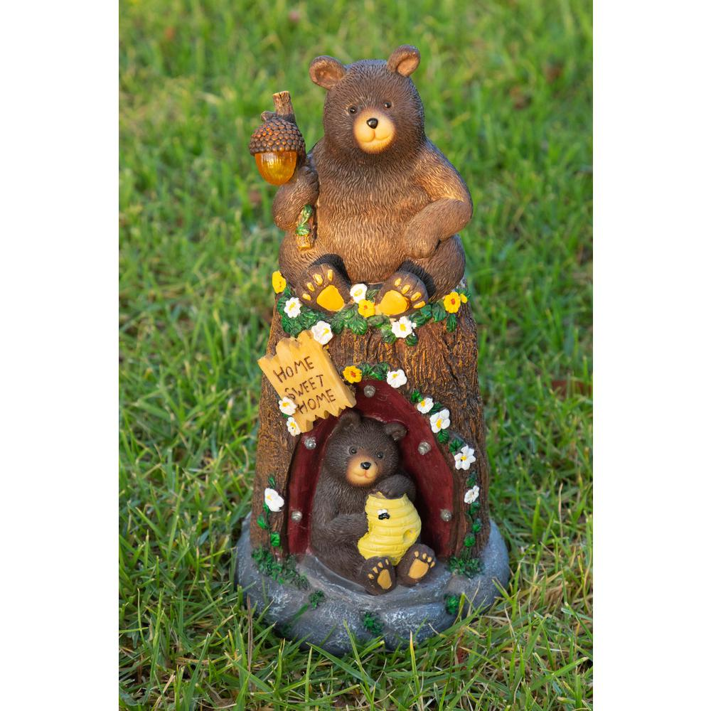12 in. Bear Statue with Color Changing LED Lights