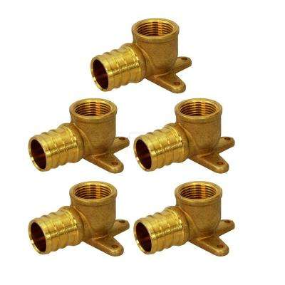 1/2 in. x 1/2 in. Brass PEX Barb x Female Pipe Thread 90-Degree Drop Ear Elbow Pipe Fitting (5-Pack)