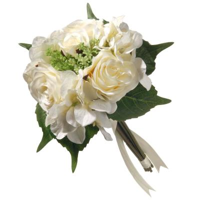 12.2 in. Mixed Cream Rose and Hydrangea Bouquet