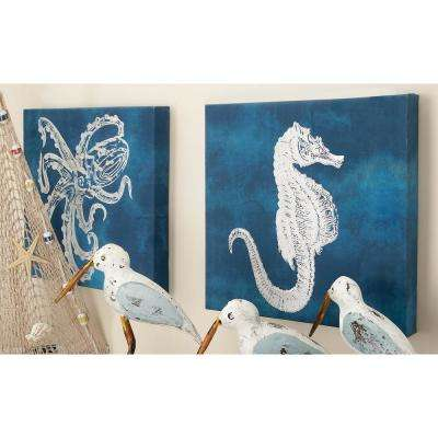 12 in. x 12 in. Wooden Sea Life Wall Art (Set of 3)