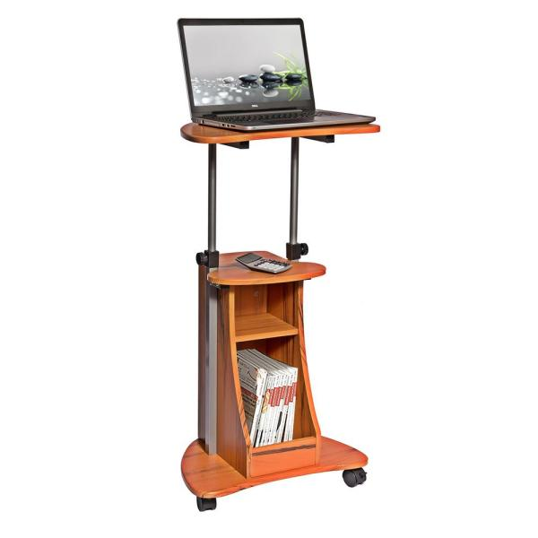 22 in. Corner Wood Grain/Chrome Laptop Desk with Adjustable Height Feature