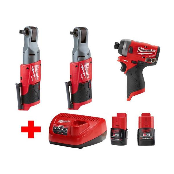 M12 FUEL 12-Volt Lithium-Ion Brushless Cordless Ratchet & Impact Combo Kit (3-Tool) with (2) 2.0Ah Battery & Charger