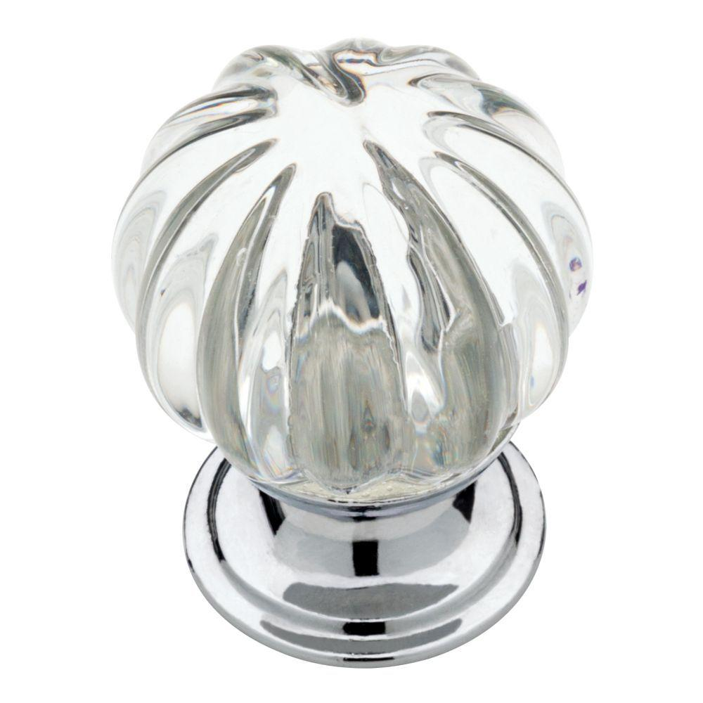 Chrome With Clear Fluted Glass Cabinet Knob