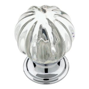 1-1/4 in. (32mm) Chrome with Clear Fluted Glass Cabinet Knob