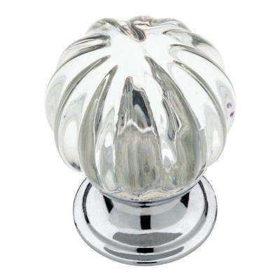 1-1/4 in. (32mm) Chrome and Clear Fluted Glass Round Cabinet Knob