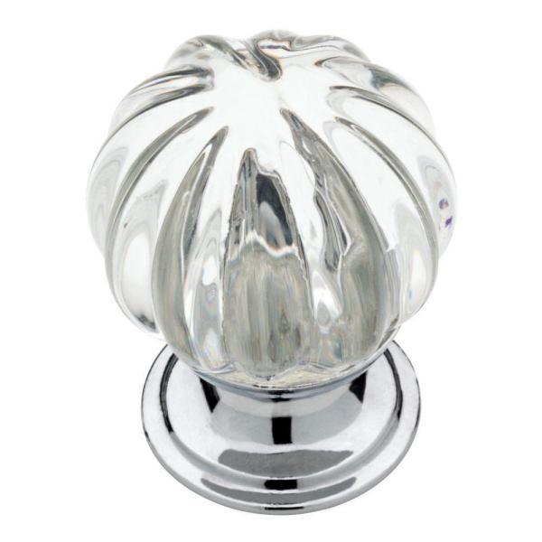 1-1/4 in. (32 mm) Chrome and Clear Fluted Glass Round Cabinet Knob