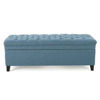 Juliana Tufted Blue Fabric Storage Bench
