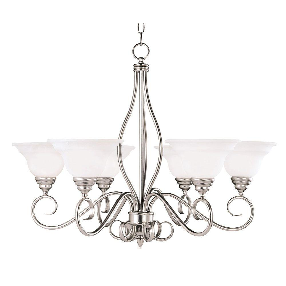 Illumine 6 light pewter chandelier with white faux alabaster glass illumine 6 light pewter chandelier with white faux alabaster glass shade aloadofball Image collections