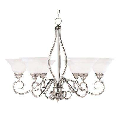 6-Light Pewter Chandelier with White Faux Alabaster Glass Shade