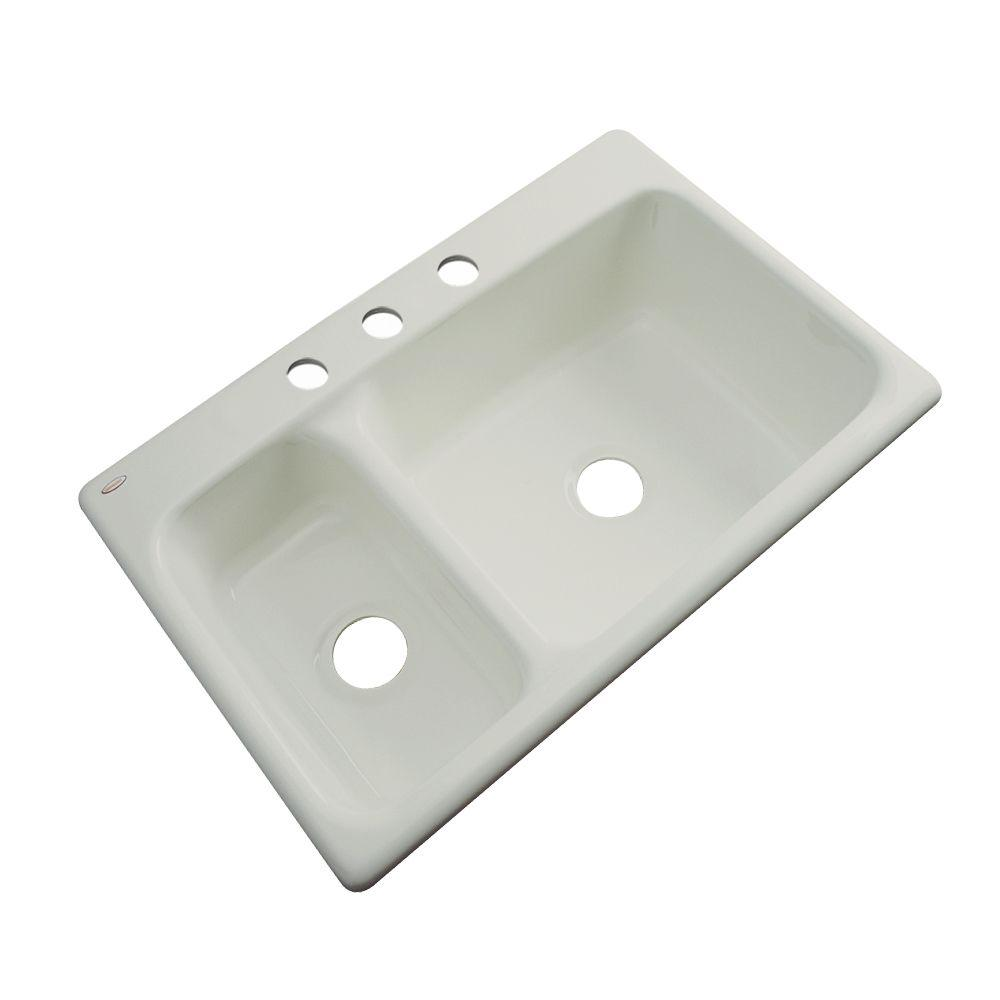 Thermocast Wyndham Drop-In Acrylic 33 in. 3-Hole Double Bowl Kitchen Sink in Tender Grey