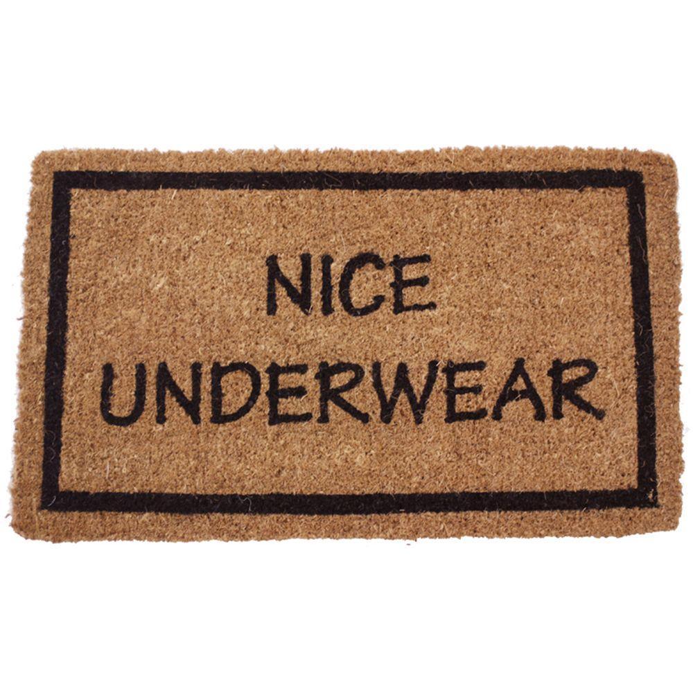 Entryways Nice Underwear 17 in. x 28 in. Non Slip Coir Door Mat