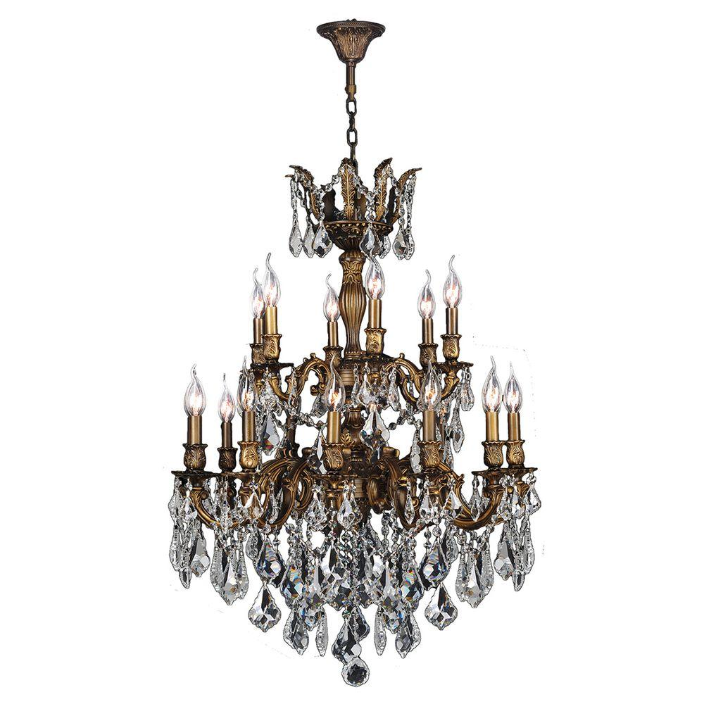Worldwide Lighting Versailles 18-Light Antique Bronze Crystal Chandelier - Worldwide Lighting Versailles 18-Light Antique Bronze Crystal