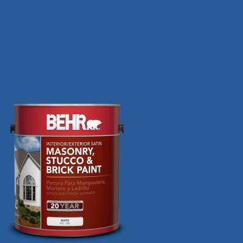 1 gal. #P510-7 Beacon Blue Satin Interior/Exterior Masonry, Stucco and Brick Paint