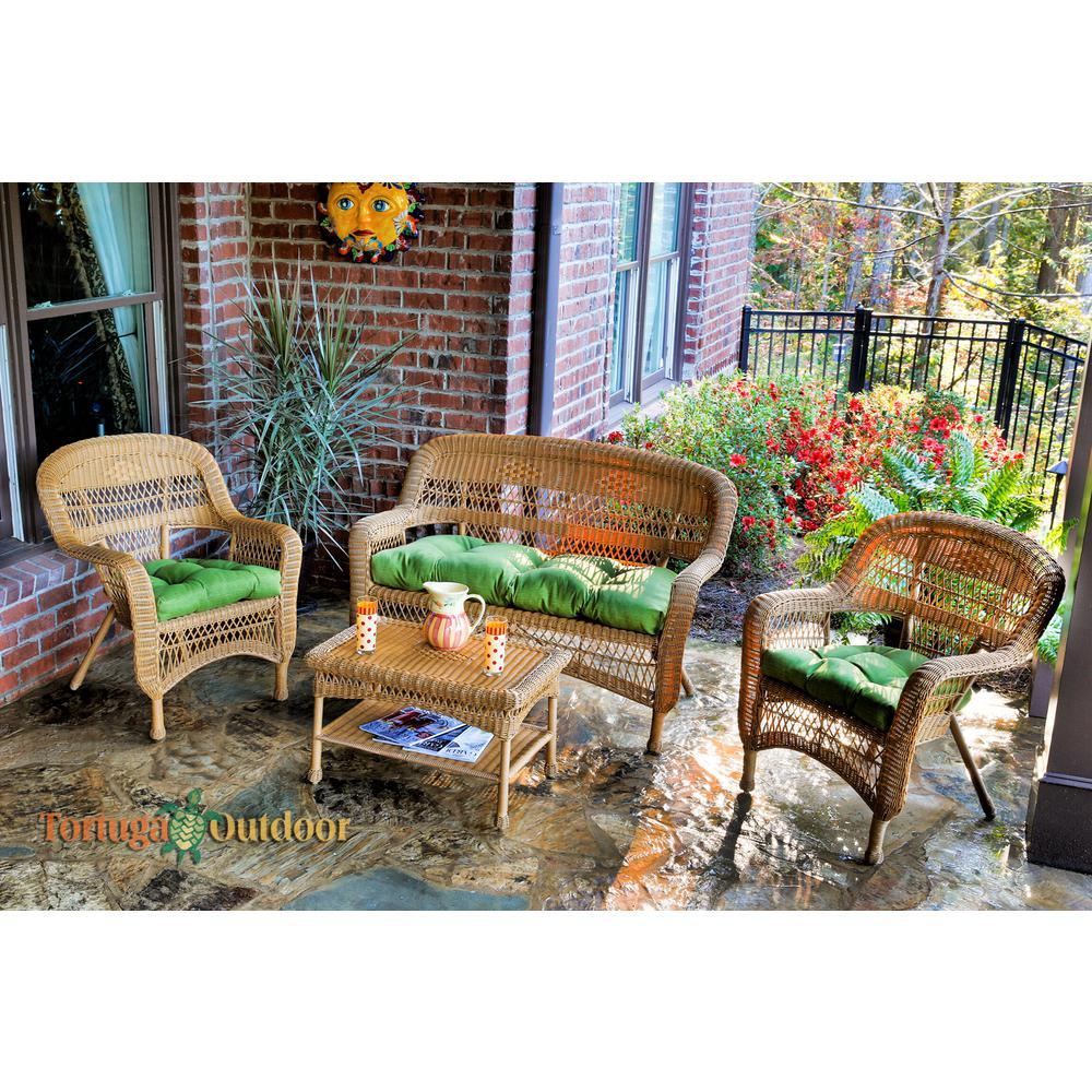 Portside Amber 4-Piece Wicker Patio Seating Set with Husk Hunter Cushions