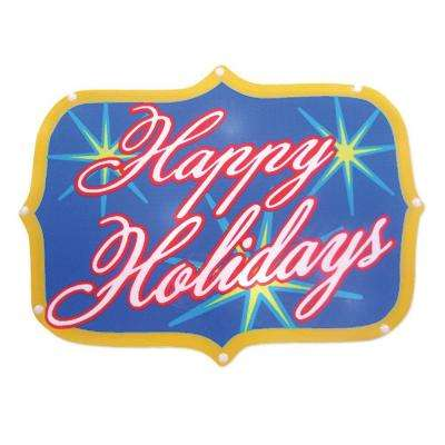 """Battery-Operated 16 in. """"Happy Holidays"""" LED Light Show Sign"""