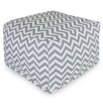 Gray Chevron Indoor/Outdoor Ottoman Cushion