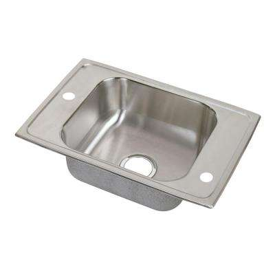 Celebrity Drop-In Stainless Steel 25 in. 2-Hole Single Bowl Classroom Sink