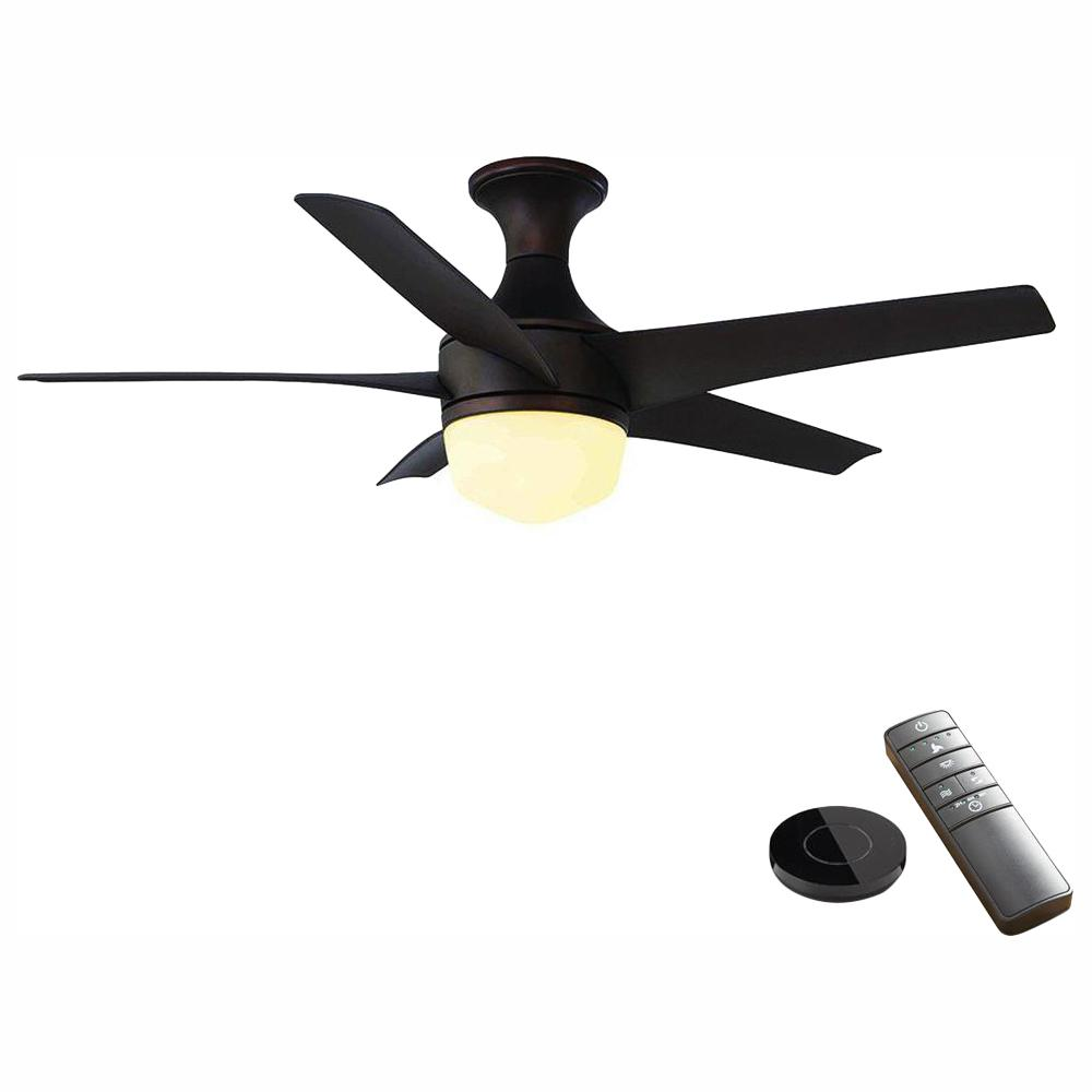 Home Decorators Collection Tuxford 44 in. LED Mediterranean Bronze Ceiling Fan with Light Kit works with Google Assistant and Alexa