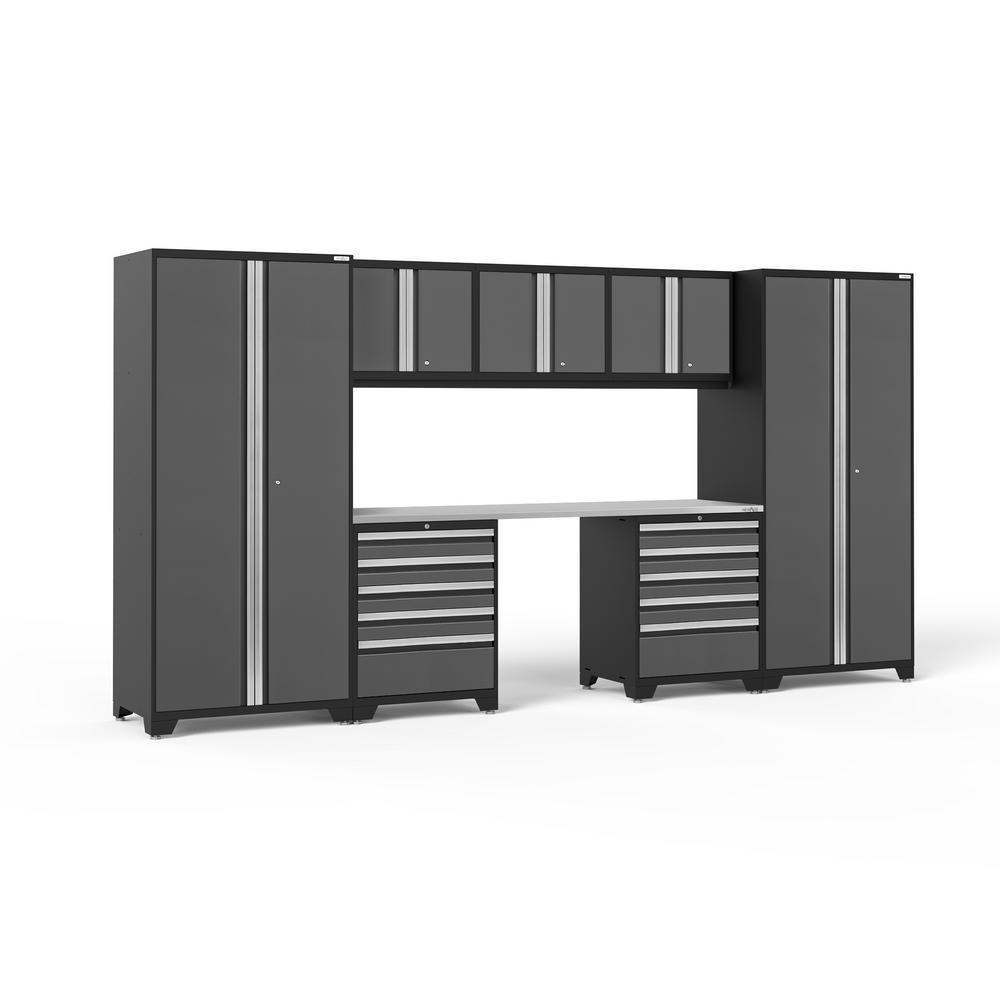 NewAge Products Pro 3.0 85.25 in. H x 156 in. W x 24 in. D 18-Gauge Welded Steel Garage Cabinet Set in Gray (8-Piece)